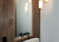 White oak provides the perfect backdrop for this distinct sink
