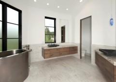 White oak vanity with frameless cabinetry