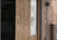 White Oak Door with Black Trim