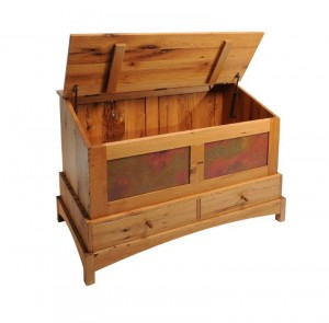 Miner's chest inspired by the mining history in Fairplay and Alma, CO.