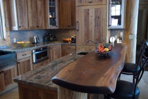 Live edge bar top reflects rustic style and natural beauty.