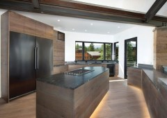 Mountain modern kitchen with white oak custom cabinetry