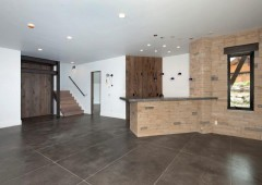 Rustic white oak coordinates throughout the home