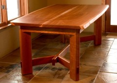 Live Edged Cherry Dining Table with Harvest Base