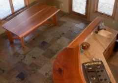 Inset Cherry Pegged Shaker style and slab bartop